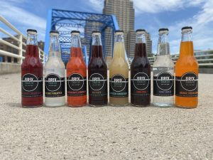 brix bottles in downtown grand rapids by blue bridge